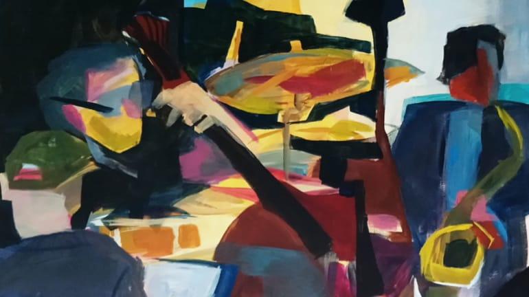 Coop ART[O]   Toile abstraite colorée de musiciens de jazz