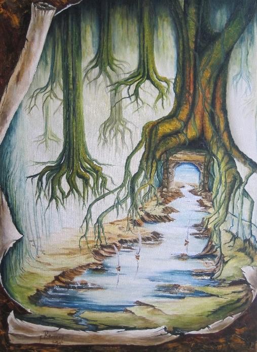Coop ART[O] | Oeuvre d'art, racines d'arbres et point d'eau